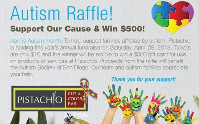 Autism Awareness holds a special place in our heart. Stop in to Pistachio Cut & Color Bar and purchase a $10 raffle ticket to be entered into our Autism Raffle! All proceeds benefit the Autism Society of San Diego, in support of National Autism Awareness Month!