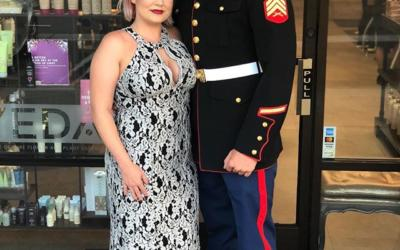 Our Salon Coordinator, Lauren and her husband, Sergeant Salyards looked amazing before attending the Marine Corps Birthday Ball at the Omni La Costa Resort. Thank you for your service!