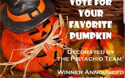 October 12 – 28th Check out the Pistachio team's pumpkin creations and vote for your favorite! The winner will be announced on Facebook and Instagram October 28th.