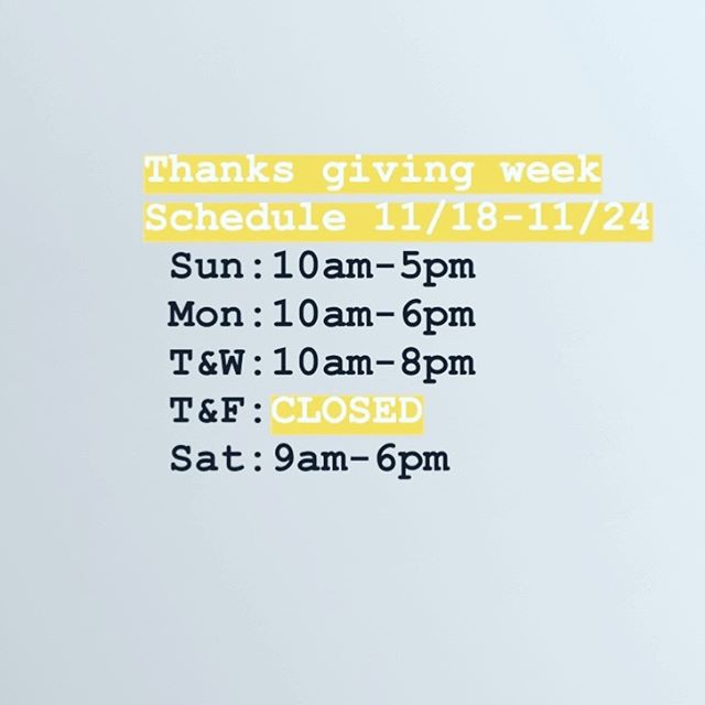 Hours of operations the week of 11/18 - 11/24.___________________________#instahair #instabeauty #atthesalon #salonlife #hair #hairspiration #hairsalon #haircolor #hairstyles #hairstyling #haircut #carlsbad #sandiego #sandiegohair #carlsbadhair #aveda #avedacolor #avedaproducts #avedaartist #smellslikeaveda #crueltyfree #botanicals #knowwhatyouremadeof #plazapaseoreal